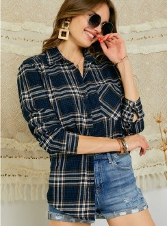 Plaid Button Down Flannel: Blue