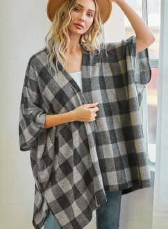 Brushed Plaid Open Cardigan Small
