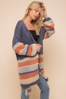 Multi Striped Loose Fit Cardi