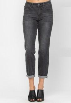 Judy Blue Black Cuffed Boyfriend Jeans