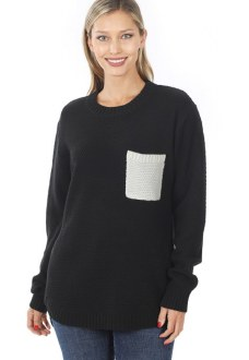Contrast Pocket Sweater