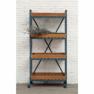 Blue Metal & Wood Shelf