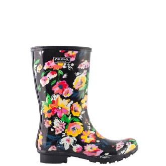 Emma Mid Black Floral Boots