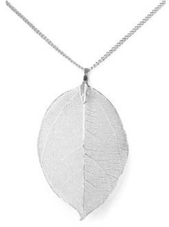 Large Leaf Pendant Necklace: Silver
