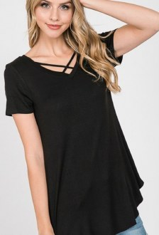 Black Criss-Cross Tee 3X
