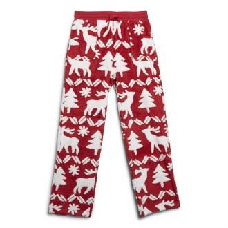 Jacquard Fleece Pajama Pants Reindeer Intarsia Red: XL