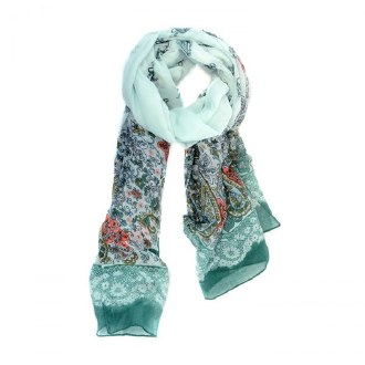 Mint Green French Lace Trim Scarf