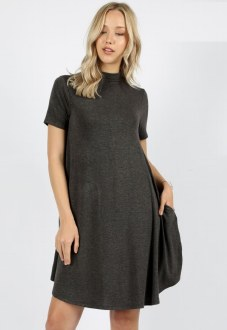 Mock Neck Short Sleeve Dress Charcoal