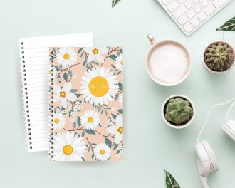 5.5x8.5 pink daisies notebook