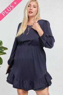 Long Sleeve Ruffle Dress 1X