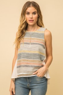 Pleating Back Mix Stripe Top S