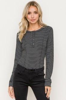 Pin Stripe LS Bodysuit Small