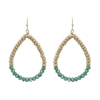 Gold And Teal Teardrop Earring