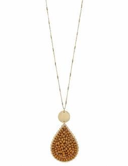 Mustard Wood Teardrop Necklace