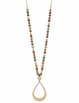 Multi Wood Necklace with Gold Teardrop
