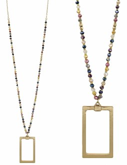 Multi Crystal Necklace with Gold Rectangle