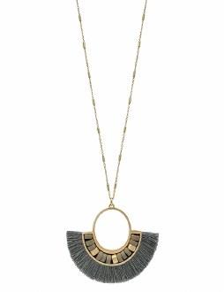 Grey Tassel Fan Necklace