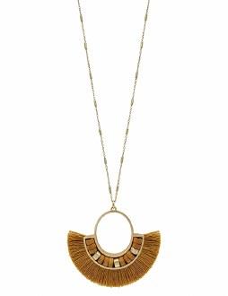 Mustard Tassel Fan Necklace