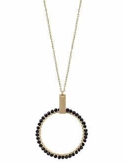 Matte Gold Black Circle Necklace