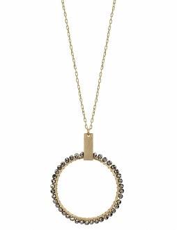Matte Gold Hematite Circle Necklace