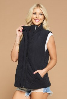 Quilted Zip up Vest Large