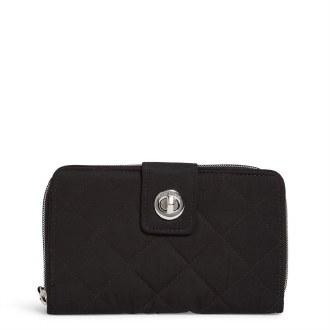 Iconic RFID Turnlock Wallet: Black