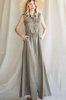 Olive Sleeveless Button Maxi Dress