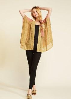 2 Toned Shirred Shoulder Kimono