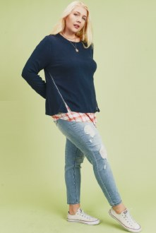 Sweater Top With Woven Underlay 2X