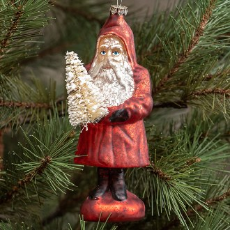 Red Mercury Glass Santa