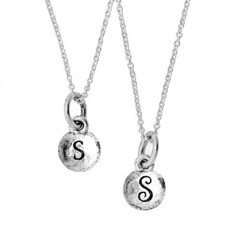 Silver Necklace with Tiny Reversible Monogram