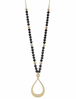 Black Wood Necklace with Gold Teardrop