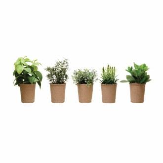 Faux Herb in Paper Pot
