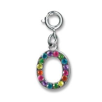 """Rainbow Letter """"O"""" Charm"""