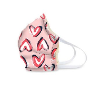 Cotton Face Mask Hearts Iced Pink
