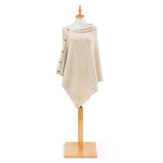 Knit Button Poncho: Cream