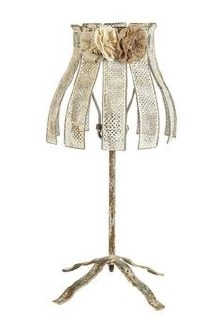 Metal Table Lamp with Flower