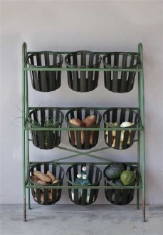 Metal Shelf with 9 Buckets