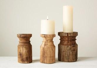 Found Wood Pillar Candle