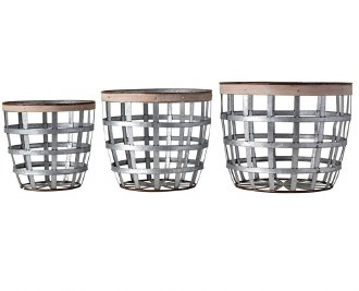 Metal & Wood Basket: Medium