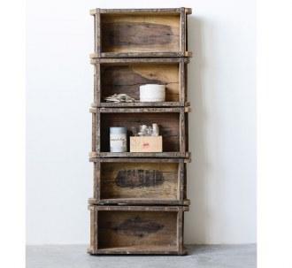 Found Wood Brick Wall Shelf