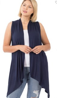 Draped Open Front Cardigan Large