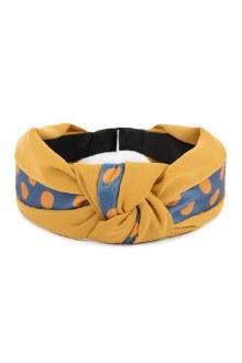 Knotted Headband: Mustard Polka Dot