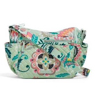 Iconic On the Go Crossbody Mint Flowers