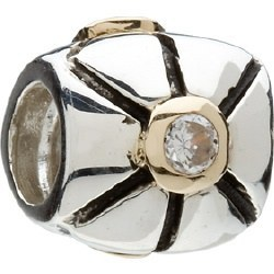 Silver and 14kt Gold Center CZ Bead