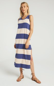 Lida Stripe Dress Apricot & Blue
