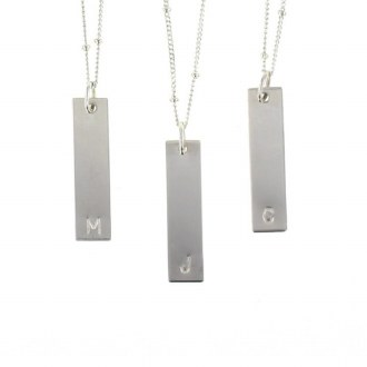 Silver  Bar Letter Tag G