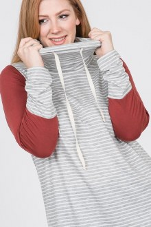 Grey Striped Drawstring Top