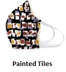 Cotton Face Mask Painted Tiles