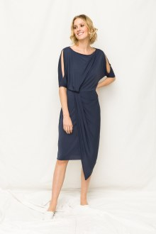 Navy Cold Shoulder Dress Large